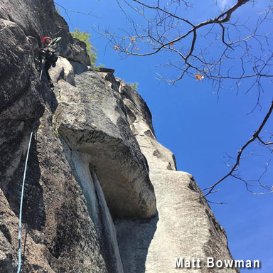 Steve Cooney on what is a near-perfect moderate finger crack on Cathedral Ledge. Not too shabby a day either!