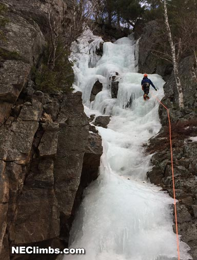 Amazingly climbing ice in 50 degree temps in late February.